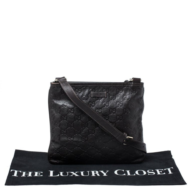 Gucci Dark Brown Guccissima Leather Crossbody Bag For Sale 7
