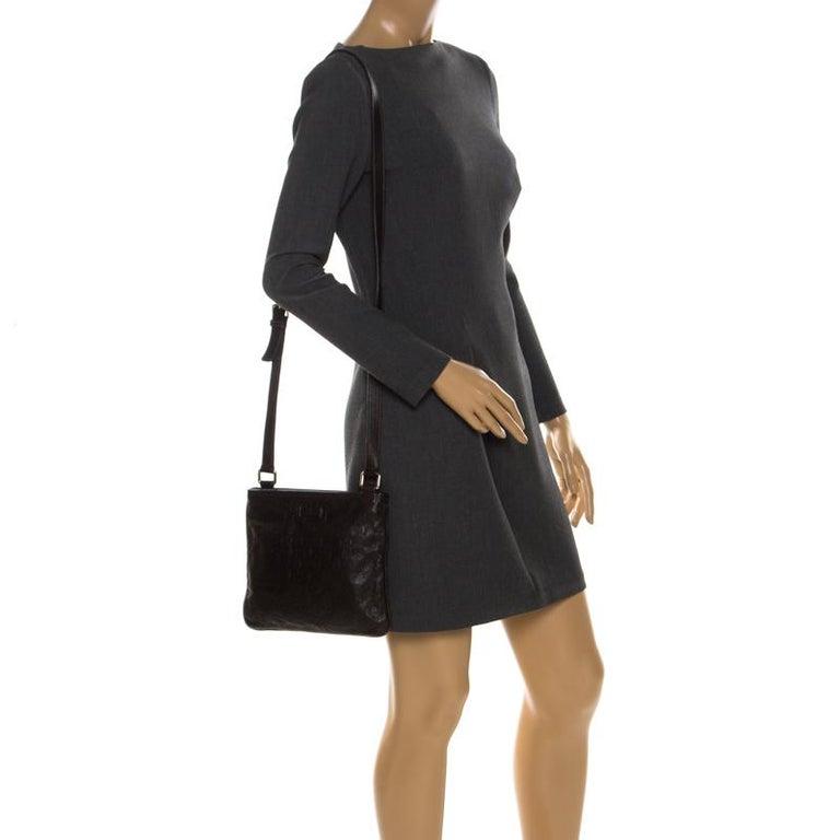 Black Gucci Dark Brown Guccissima Leather Crossbody Bag For Sale