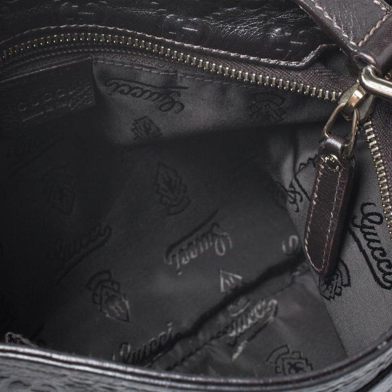 Gucci Dark Brown Guccissima Leather Crossbody Bag For Sale 3