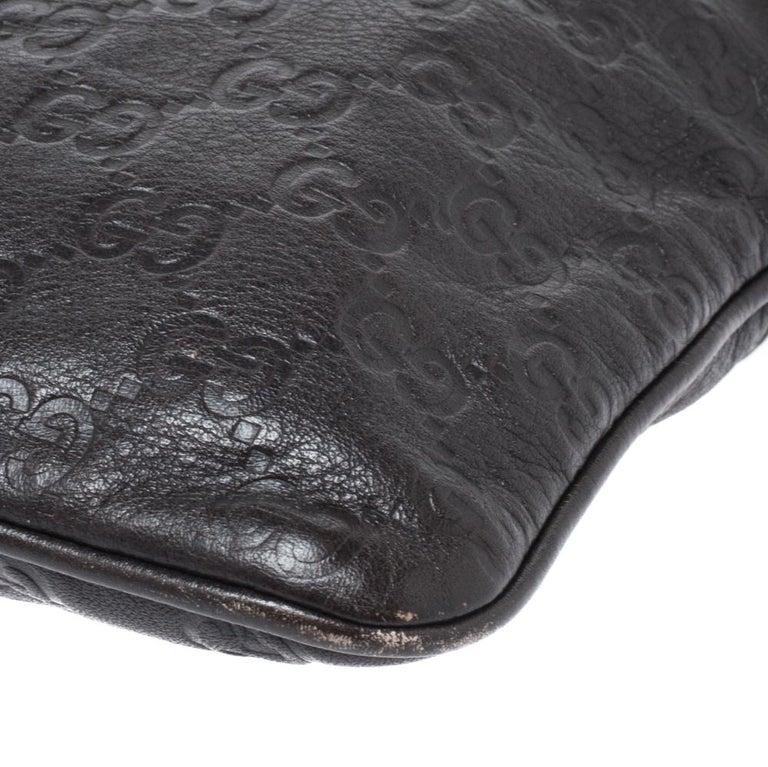 Gucci Dark Brown Guccissima Leather Crossbody Bag For Sale 4