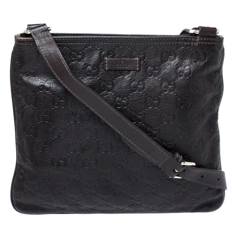Gucci Dark Brown Guccissima Leather Crossbody Bag For Sale