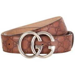 GUCCI dark brown GUCCISSIMA leather GG BUCKLE Belt 90