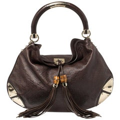 Gucci Dark Brown Guccissima Leather Large Babouska Indy Hobo