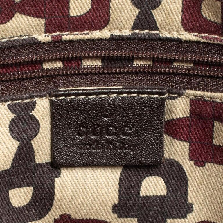 Gucci Dark Brown Guccissima Leather Medium Abbey Tote For Sale 7