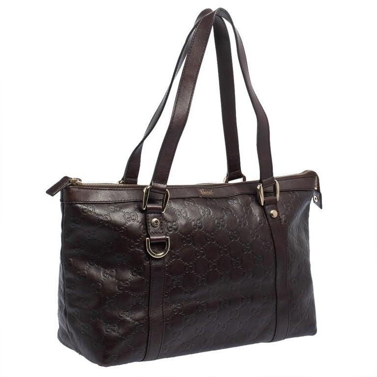 Black Gucci Dark Brown Guccissima Leather Medium Abbey Tote For Sale