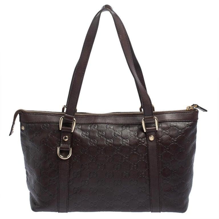 Gucci Dark Brown Guccissima Leather Medium Abbey Tote In Good Condition For Sale In Dubai, Al Qouz 2