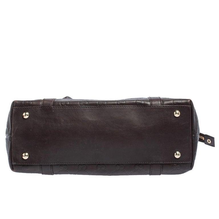 Women's Gucci Dark Brown Guccissima Leather Medium Abbey Tote For Sale