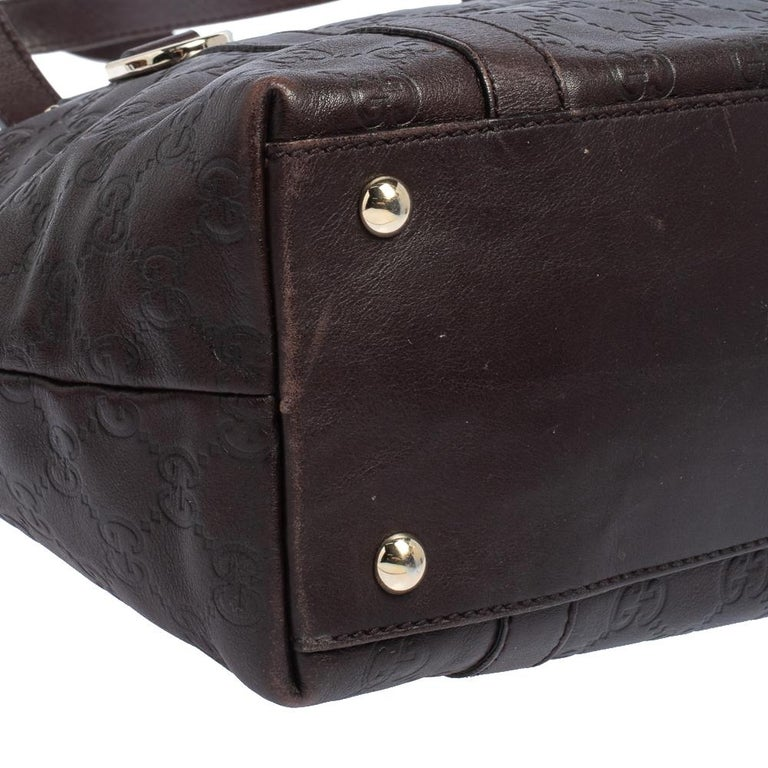 Gucci Dark Brown Guccissima Leather Medium Abbey Tote For Sale 1