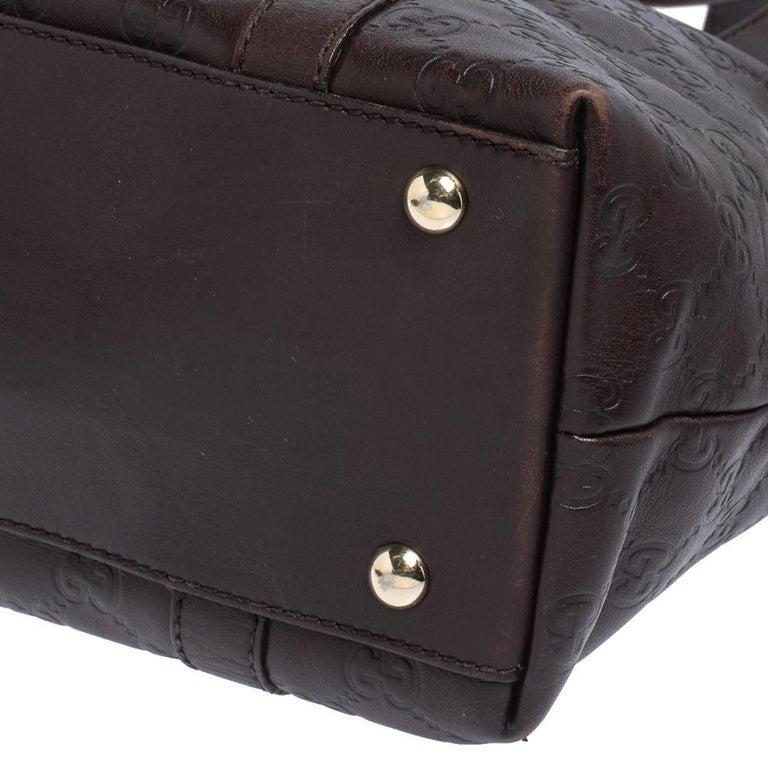 Gucci Dark Brown Guccissima Leather Medium Abbey Tote For Sale 2