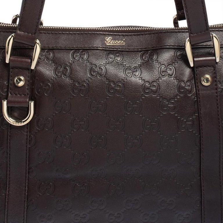Gucci Dark Brown Guccissima Leather Medium Abbey Tote For Sale 3