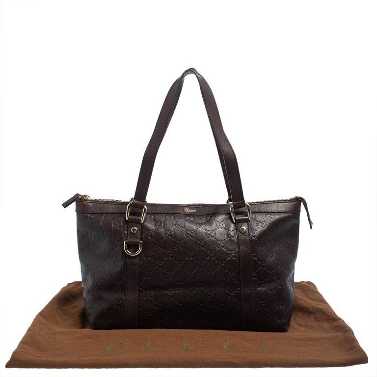 Gucci Dark Brown Guccissima Leather Medium Abbey Tote For Sale 4