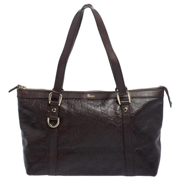 Gucci Dark Brown Guccissima Leather Medium Abbey Tote For Sale