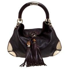 Gucci Dark Brown Guccissima Leather Medium Babouska Indy Hobo
