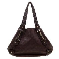 Gucci Dark Brown Guccissima Leather Medium Pelham Hobo