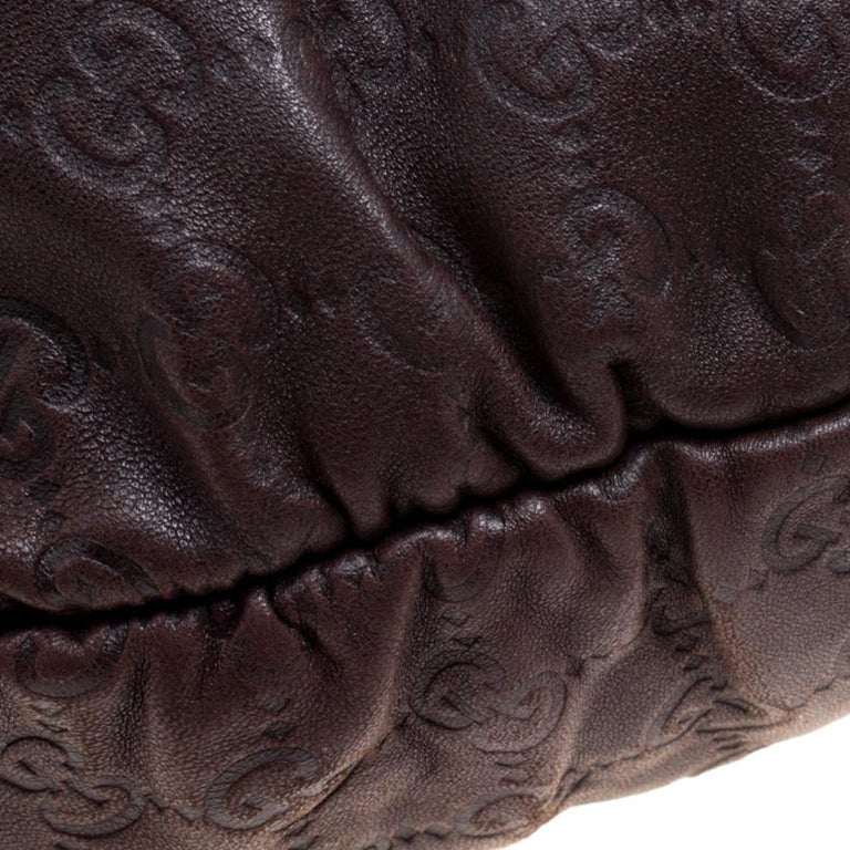 Gucci Dark Brown Guccissima Leather Medium Pelham Studded Hobo For Sale 5
