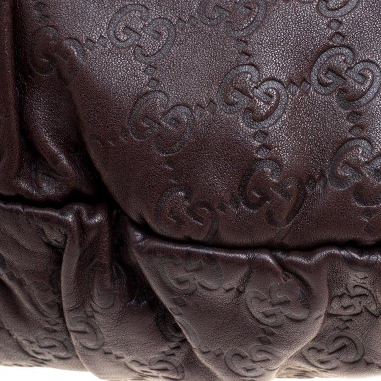 Gucci Dark Brown Guccissima Leather Medium Pelham Studded Hobo For Sale 6