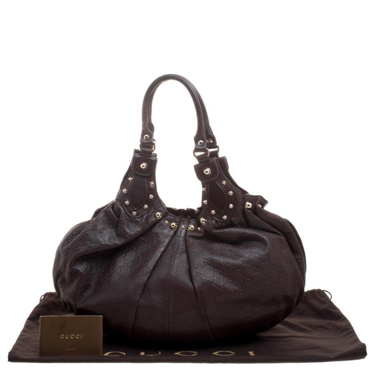 Gucci Dark Brown Guccissima Leather Medium Pelham Studded Hobo For Sale 8