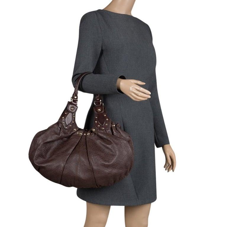 Black Gucci Dark Brown Guccissima Leather Medium Pelham Studded Hobo For Sale