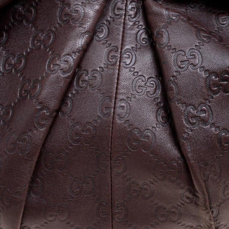 Gucci Dark Brown Guccissima Leather Medium Pelham Studded Hobo For Sale 1