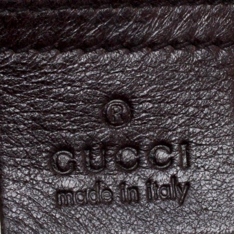 Gucci Dark Brown Guccissima Leather Medium Pelham Studded Hobo For Sale 4