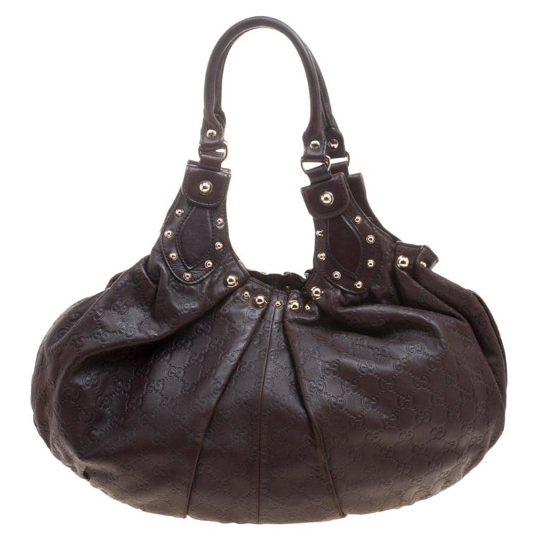 Gucci Dark Brown Guccissima Leather Medium Pelham Studded Hobo For Sale