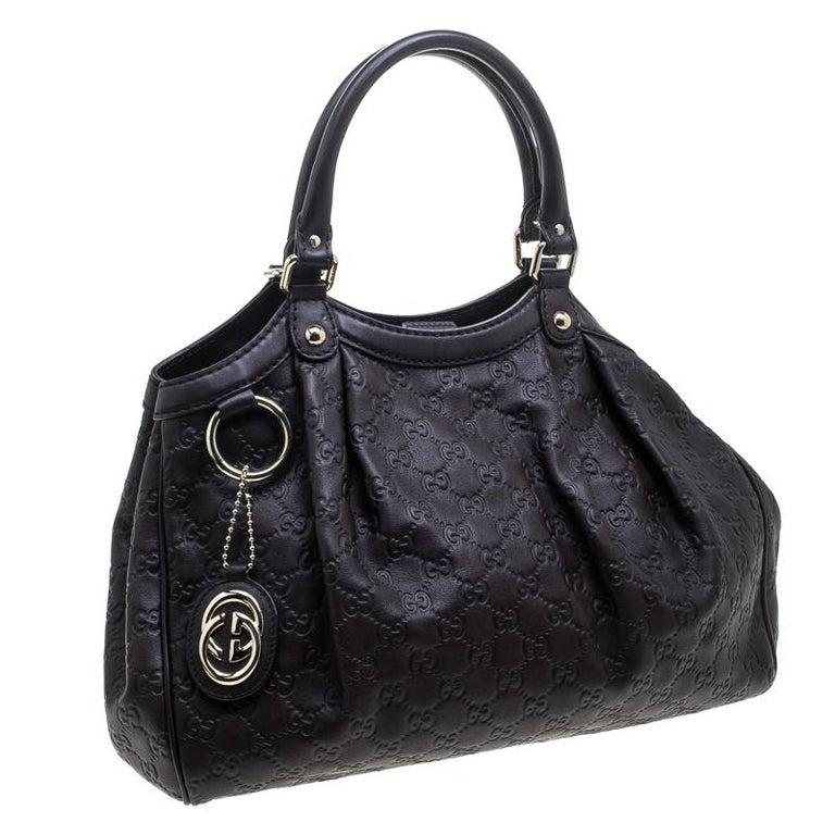 e8a156fea623 Gucci Dark Brown Guccissima Leather Medium Sukey Tote In Good Condition For  Sale In Dubai,