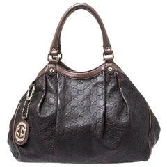 Gucci Dark Brown Guccissima Leather Medium Sukey Tote