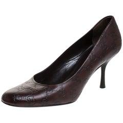 Gucci Dark Brown Guccissima Leather Pumps Size 38