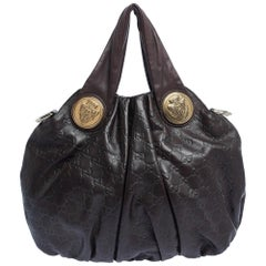 Gucci Dark Brown Guccissima Leather Small Hysteria Hobo