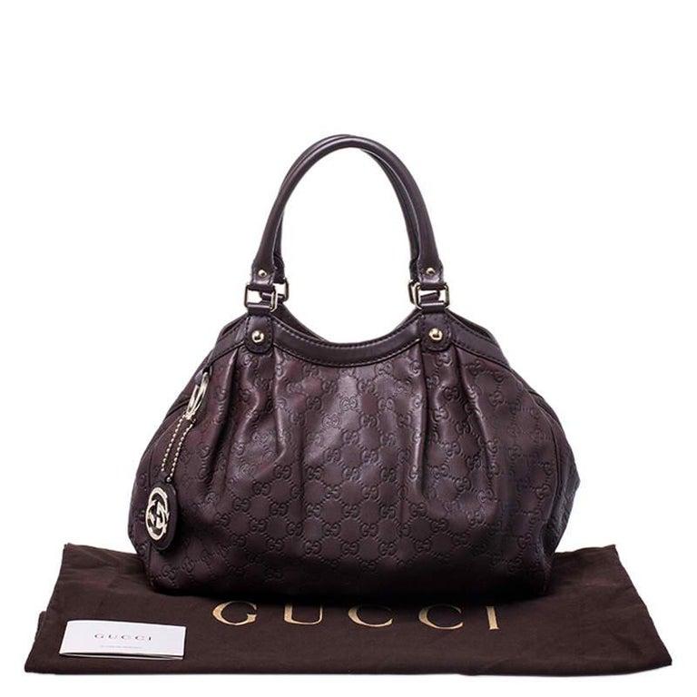Gucci Dark Brown Guccissima Leather Sukey Tote For Sale 7