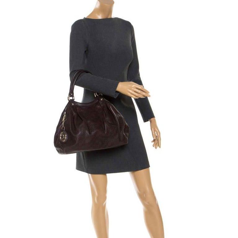 Gucci Dark Brown Guccissima Leather Sukey Tote In Good Condition For Sale In Dubai, Al Qouz 2
