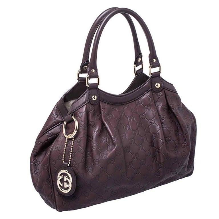 Gucci Dark Brown Guccissima Leather Sukey Tote For Sale 1