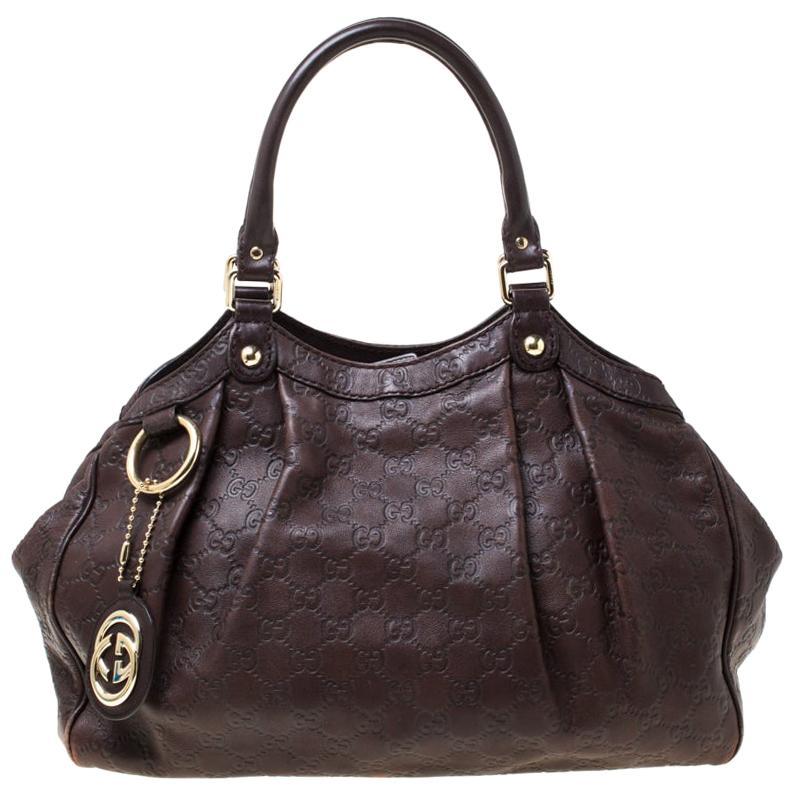 Gucci Dark Brown Guccissima Leather Sukey Tote
