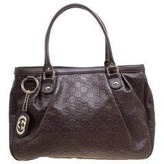 Gucci Dark Brown Guccissima Leather Sukey Tote