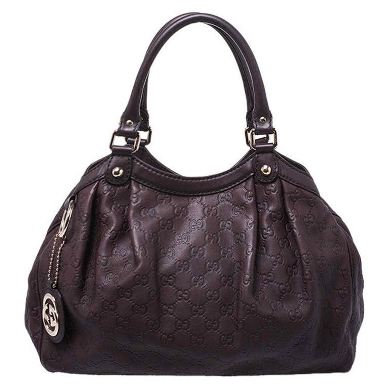 Gucci Dark Brown Guccissima Leather Sukey Tote For Sale