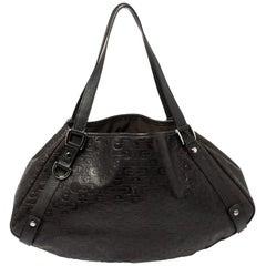 Gucci Dark Brown Horsebit Embossed Leather Medium Abbey Shoulder Bag