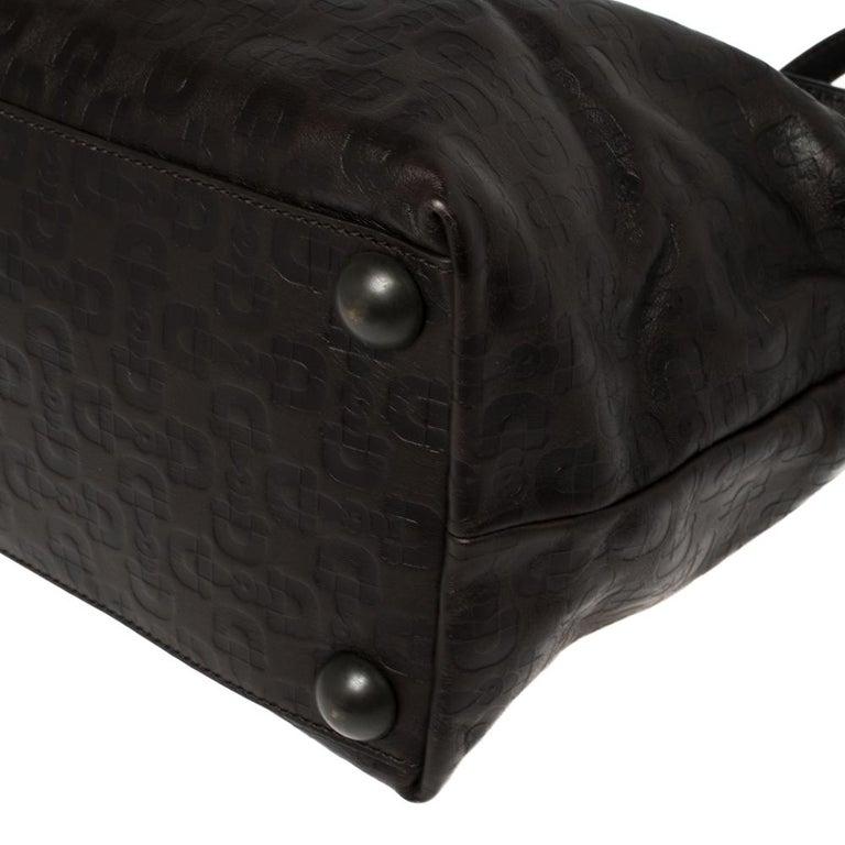 Gucci Dark Brown Horsebit Embossed Leather Medium Babouska Tote For Sale 5