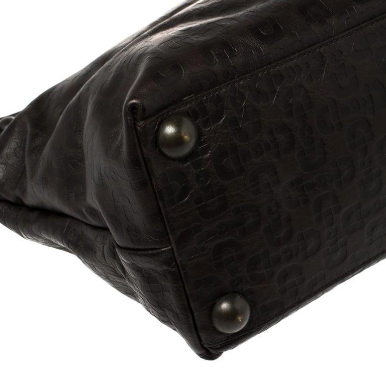 Gucci Dark Brown Horsebit Embossed Leather Medium Babouska Tote For Sale 6