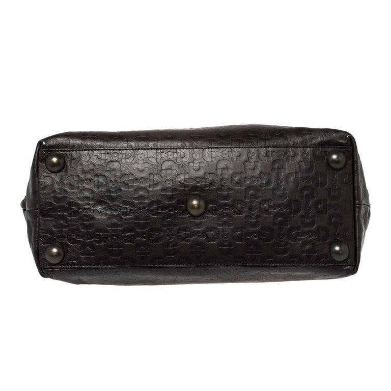 Gucci Dark Brown Horsebit Embossed Leather Medium Babouska Tote For Sale 7