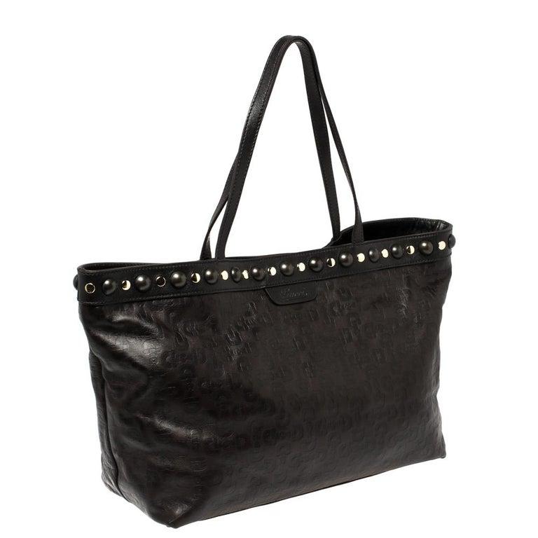 Black Gucci Dark Brown Horsebit Embossed Leather Medium Babouska Tote For Sale