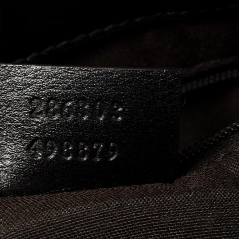 Women's Gucci Dark Brown Horsebit Embossed Leather Medium Babouska Tote For Sale