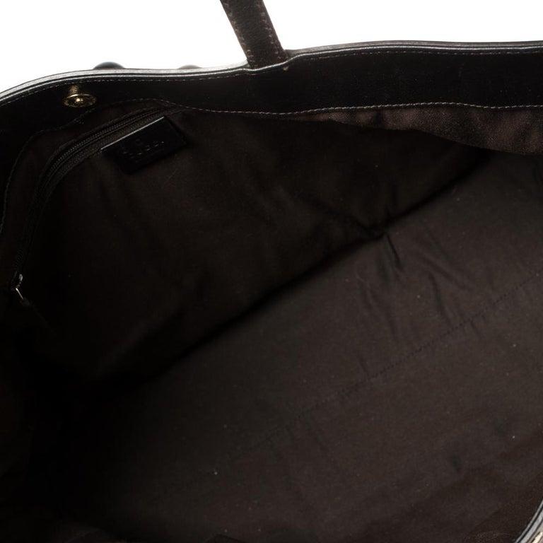 Gucci Dark Brown Horsebit Embossed Leather Medium Babouska Tote For Sale 3