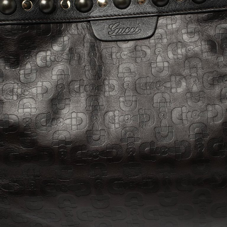 Gucci Dark Brown Horsebit Embossed Leather Medium Babouska Tote For Sale 4