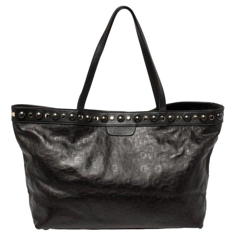 Gucci Dark Brown Horsebit Embossed Leather Medium Babouska Tote For Sale