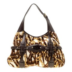 Gucci Dark Brown Horsebit Print Velvet 85th Anniversary Brit Hobo