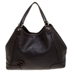 Gucci Dark Brown Leather Braided Tote