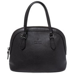 Gucci Dark Brown Leather Convertible Dome Satchel
