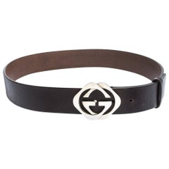Gucci Dark Brown Leather Double Square G Buckle Belt 90CM