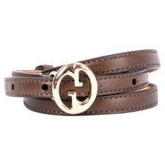 GUCCI dark brown leather GG BUCKLE THIN WAIST BELT 70