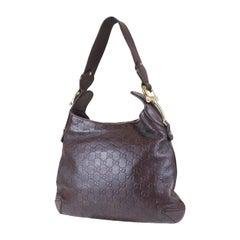"Gucci Dark Brown Leather Guccissima ""Creole"" Leather Monogram Hobo Bag"